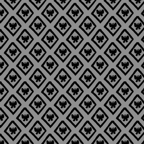 Butterfly Diamonds - Gray fabric by siya on Spoonflower - custom fabric