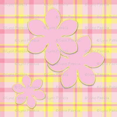Pink Flower on Plaid