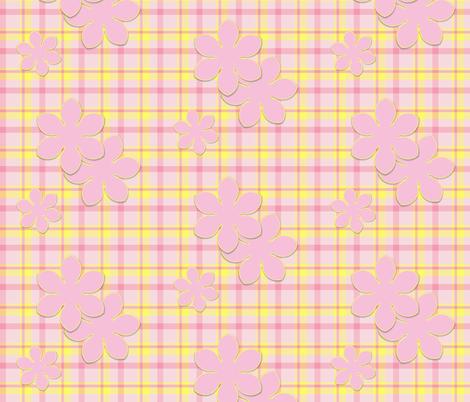 Pink Flower on Plaid fabric by oranshpeel on Spoonflower - custom fabric