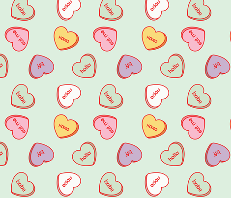conversation hearts fabric by annaboo on Spoonflower - custom fabric