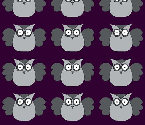 Grey owl fabric by fluffygeek on Spoonflower - custom fabric