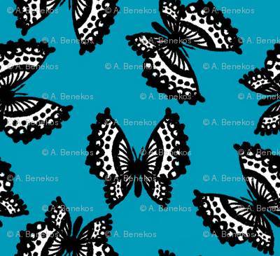 Black Lace Butterflies - Blue