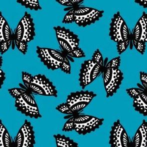 Black Lace Butterflies - Blue
