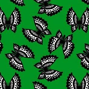 Black Lace Butterflies - Green