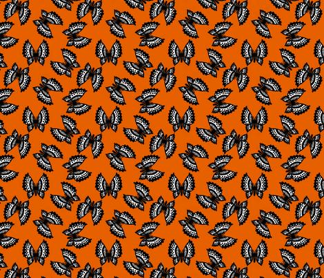 Black Lace Butterflies - Orange fabric by siya on Spoonflower - custom fabric