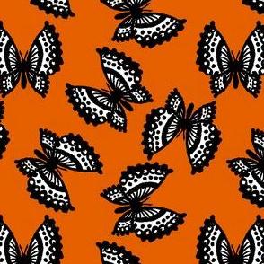 Black Lace Butterflies - Orange