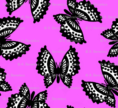 Black Lace Butterflies - Pink