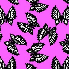 Black Lace Butterflies - Pink