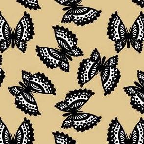 Black Lace Butterflies - Sand