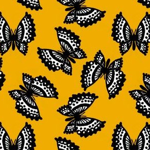 Black Lace Butterflies - Yellow