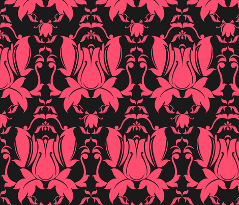 Hollywood Damask Pink on Charcoal fabric by yourfriendamy on Spoonflower - custom fabric
