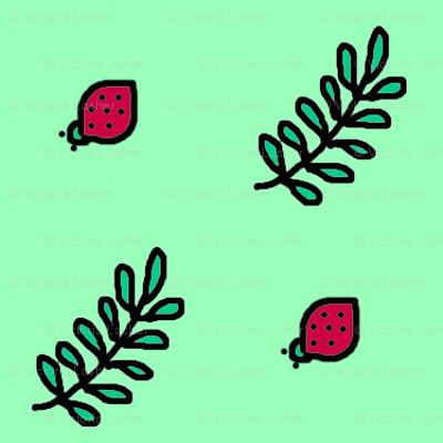 diagonal_green_fern_leaf_and_red_bug_doodle_2