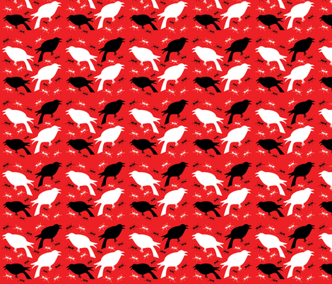 Crows and Ants- Red and Black fabric by tessiegirldesigns on Spoonflower - custom fabric