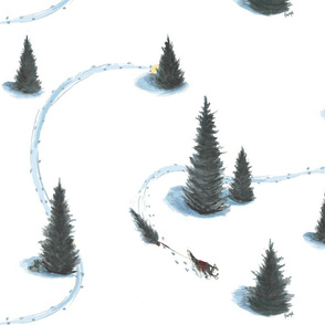 16 x 16 in Xmas Pulling Christmas tree Siberian Husky Siberian Husky pulling Christmas tree -ch