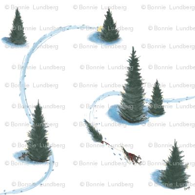 8 x 8 in. Xmas Pulling Christmas tree Siberian HuskySiberian husky pulling Christmas tree #2-revised