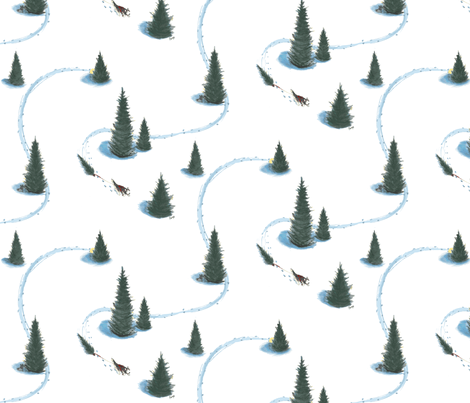 8 x 8 in. Xmas Pulling Christmas tree Siberian HuskySiberian husky pulling Christmas tree #2-revised fabric by bonz_fabric_ on Spoonflower - custom fabric