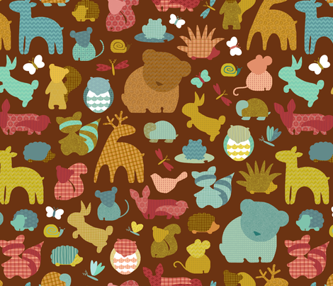 Forest Friendlies in Bark fabric by cathyheckstudio on Spoonflower - custom fabric