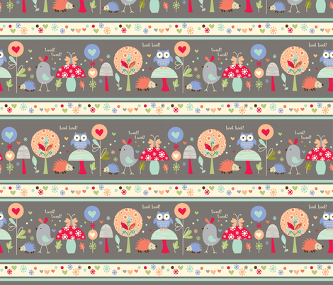 forest friends stripe fabric by amel24 on Spoonflower - custom fabric