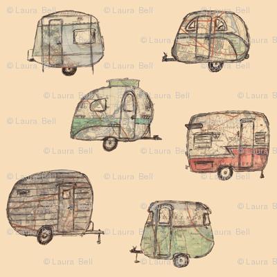 Retro caravans with map detail