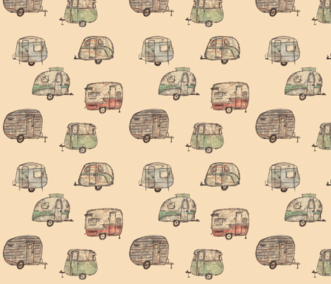 Retro caravans with map detail fabric by fromlaurawithlove on Spoonflower - custom fabric