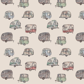 Retro caravans with map detail