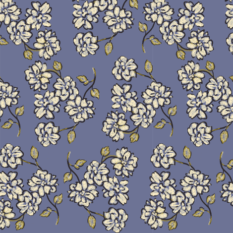 final_sktchy_florl_on_blue_sm fabric by thatswho on Spoonflower - custom fabric