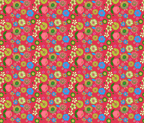 fleur_pop_rouge fabric by nadja_petremand on Spoonflower - custom fabric