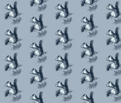Squirrel in Blue fabric by hauteideas on Spoonflower - custom fabric