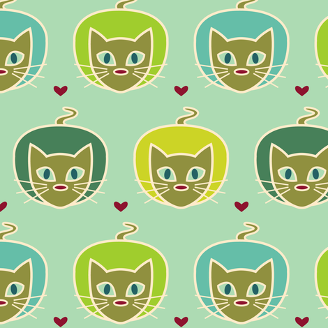 Cats on the prey fabric by lisse on Spoonflower - custom fabric