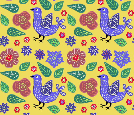 Yellow Garden fabric by yellowstudio on Spoonflower - custom fabric