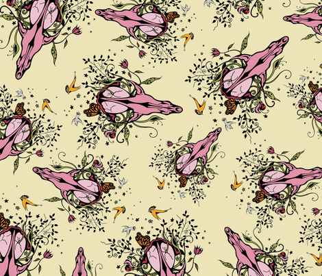 Floral Skull fabric by lisa_godfrey on Spoonflower - custom fabric