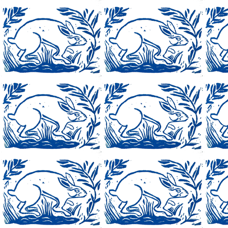 Rabbit block print fabric by bad_penny on Spoonflower - custom fabric