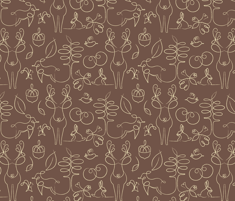 Woodline Creatures fabric by tinornament on Spoonflower - custom fabric