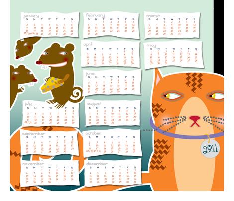 Bad Mice | 2011 Tea Towel Calendar fabric by shelliquinn on Spoonflower - custom fabric