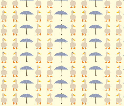 Ducks and Umbrellas fabric by featheredneststudio on Spoonflower - custom fabric