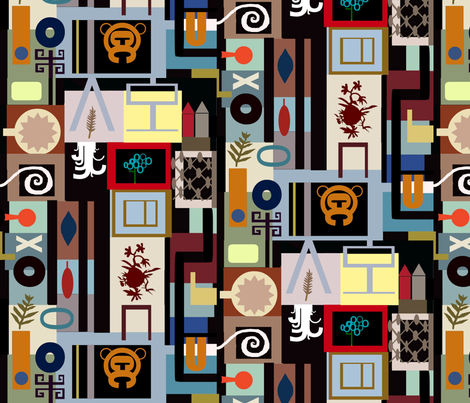 Welcome to the Monkey House fabric by boris_thumbkin on Spoonflower - custom fabric