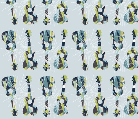 Ukulele Music - Blue fabric by owlandchickadee on Spoonflower - custom fabric