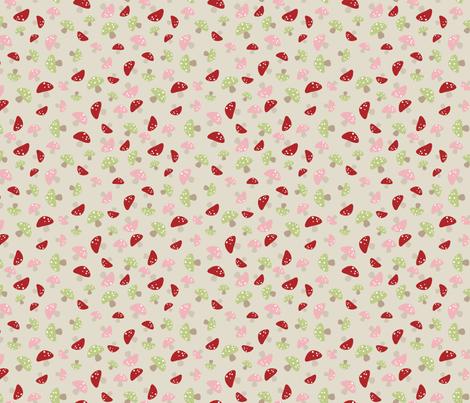 Mushroom Dance - Pink and Red fabric by inktreepress on Spoonflower - custom fabric