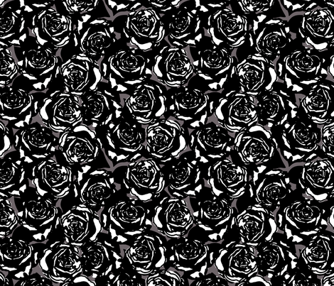 roses black fabric by minimiel on Spoonflower - custom fabric