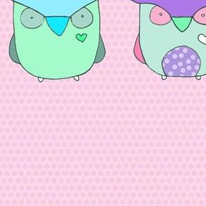 Baby Owls - Pink Polka Dots