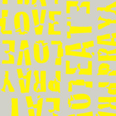 Eat_Pray_Love_Tea_Yellow fabric by drawcity on Spoonflower - custom fabric