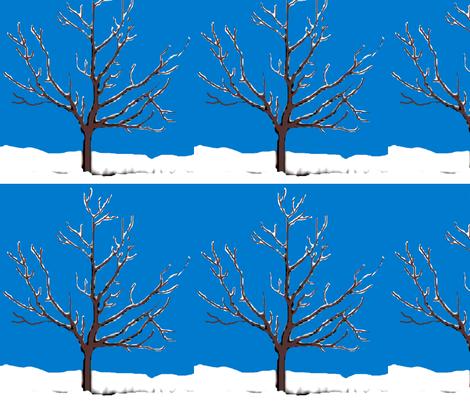 Snowy Tree fabric by robin_rice on Spoonflower - custom fabric