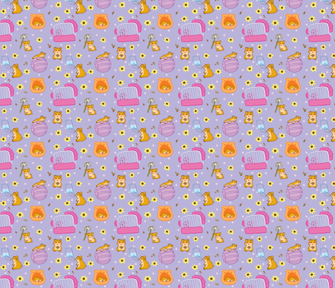 Sunflower Hamsters fabric by fauxfauna on Spoonflower - custom fabric