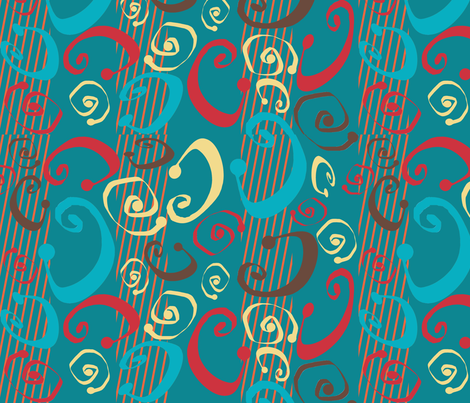 Teal Squeegee Topsy fabric by poetryqn on Spoonflower - custom fabric