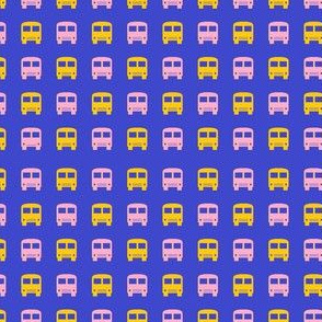 Pink and Yellow School Buses