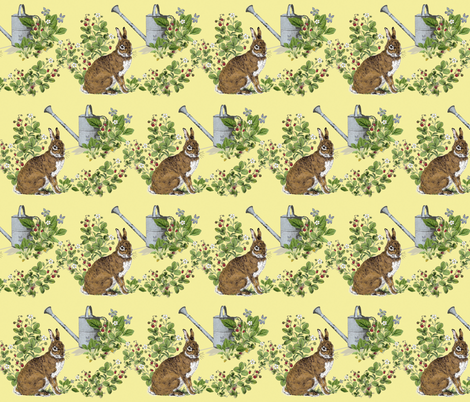 Bunny in the Berry Patch fabric by hauteideas on Spoonflower - custom fabric