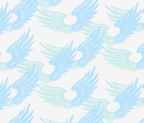 Heartwings: Ice Blues fabric by penina on Spoonflower - custom fabric