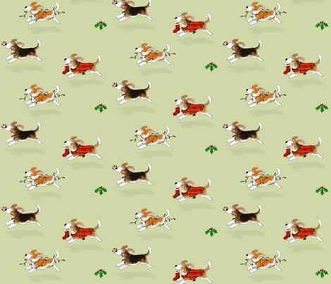 Christmas Beagles fabric by hauteideas on Spoonflower - custom fabric