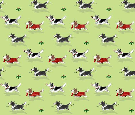Christmas Corgis fabric by hauteideas on Spoonflower - custom fabric