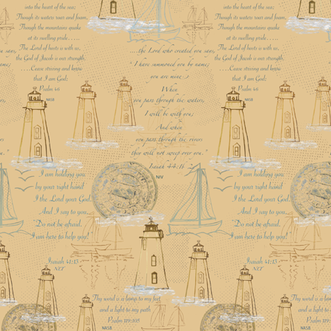Lighthouses, Sailboats and Hope fabric by petals_fair_(peggy_brown) on Spoonflower - custom fabric